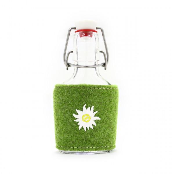 "Flachmann Glas 100 ml - Stick ""Edelweiss"""