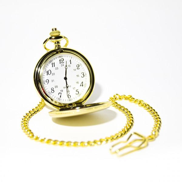 Taschenuhr 2-Deckel goldfarbig mit Kette