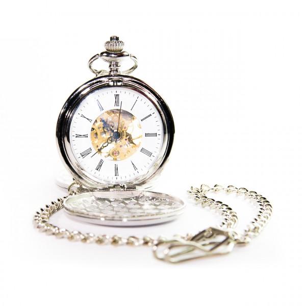 Taschenuhr 3-Deckel, offenes Uhrwerk, silberfarbig mit Kette