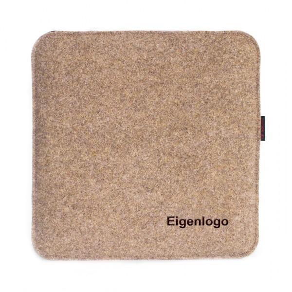 """Sitzauflage 35x35cm - Stick """"Eigenlogo"""" einfarbig"""