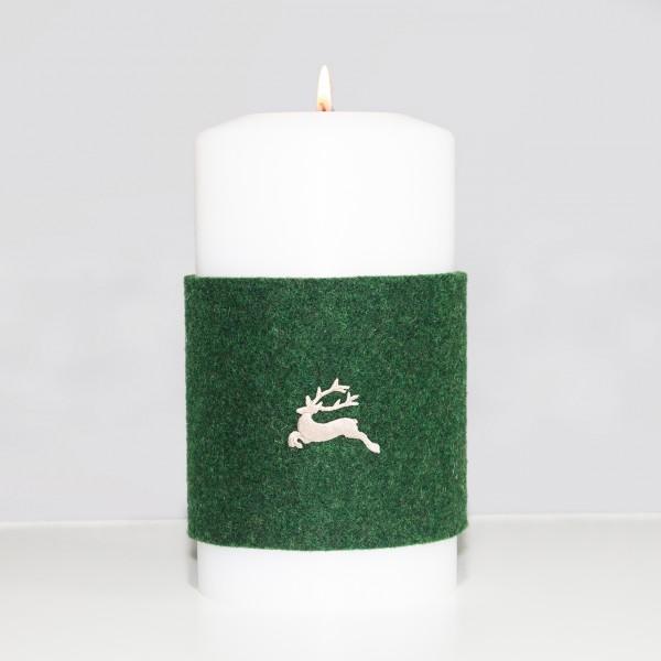 """Manschette für Kerze groß - Stick """"Hirsch"""""""