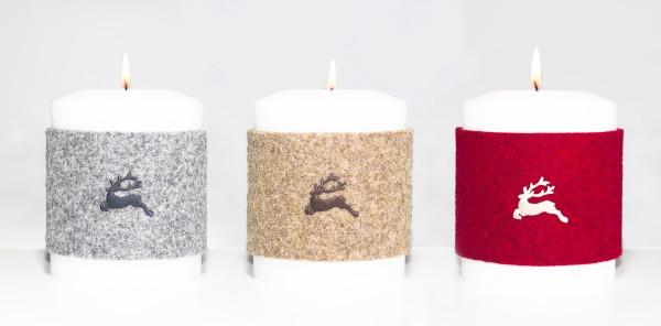 """Manschette für Kerze klein - Stick """"Hirsch"""""""