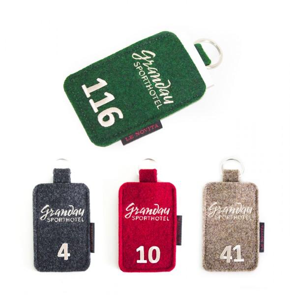 """Zimmerschlüsselkartenmäppchen - Stick """"Logo"""" und """"Zimmernummer"""""""